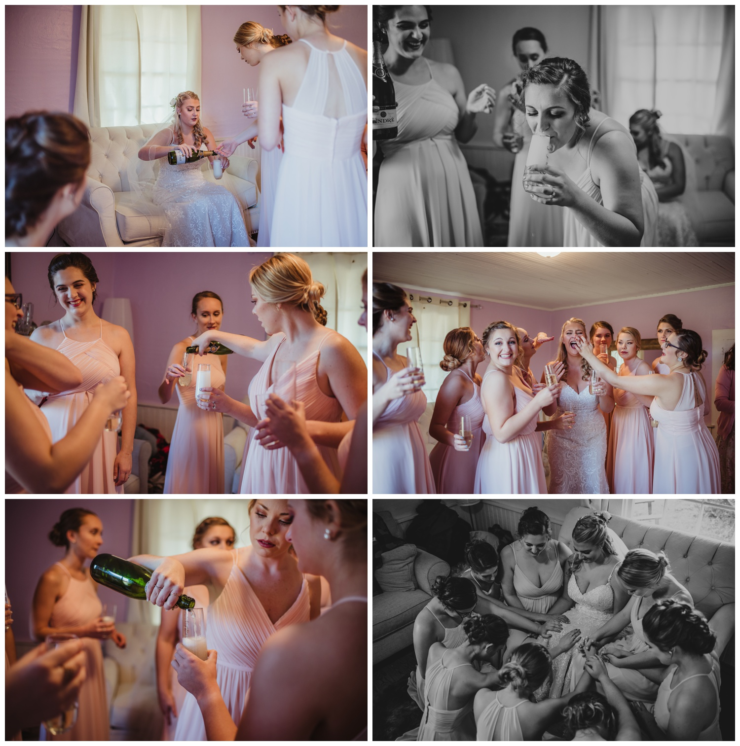 The bride and her girls toast with champagne before her wedding ceremony at The Warren Estate, images by Rose Trail Images of Rolesville, NC.