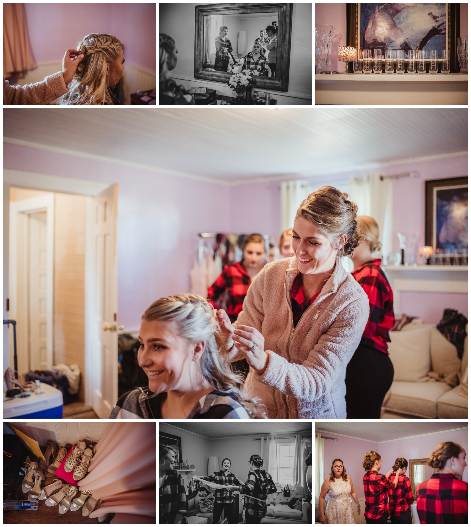 The bride gets ready with her bridesmaids before her wedding ceremony at The Warren Estate, images by Rose Trail Images of Rolesville, NC.