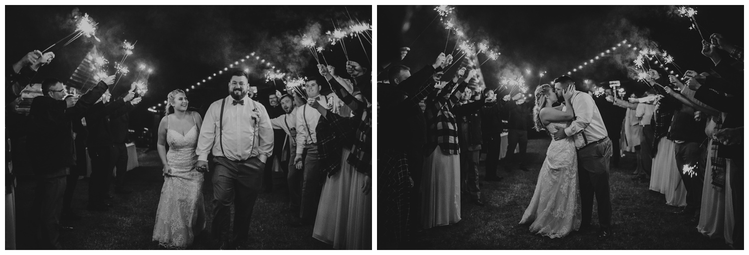 After the wedding reception at The Warren Estate, the bride and groom had a sparkler exit, images by Rose Trail Images of Rolesville, NC.