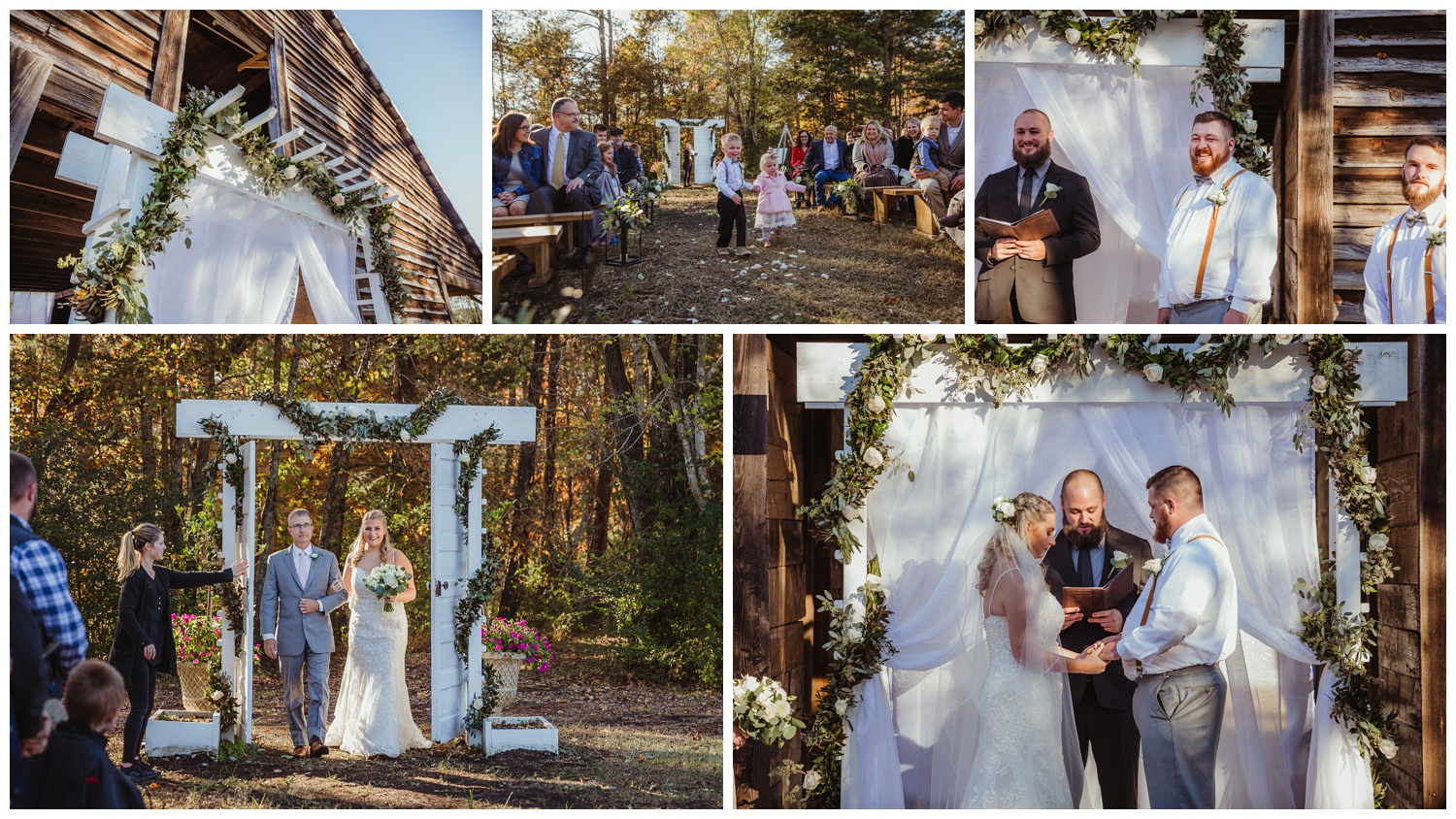 The bride walks into her wedding ceremony at The Warren Estate, images by Rose Trail Images of Rolesville, NC.
