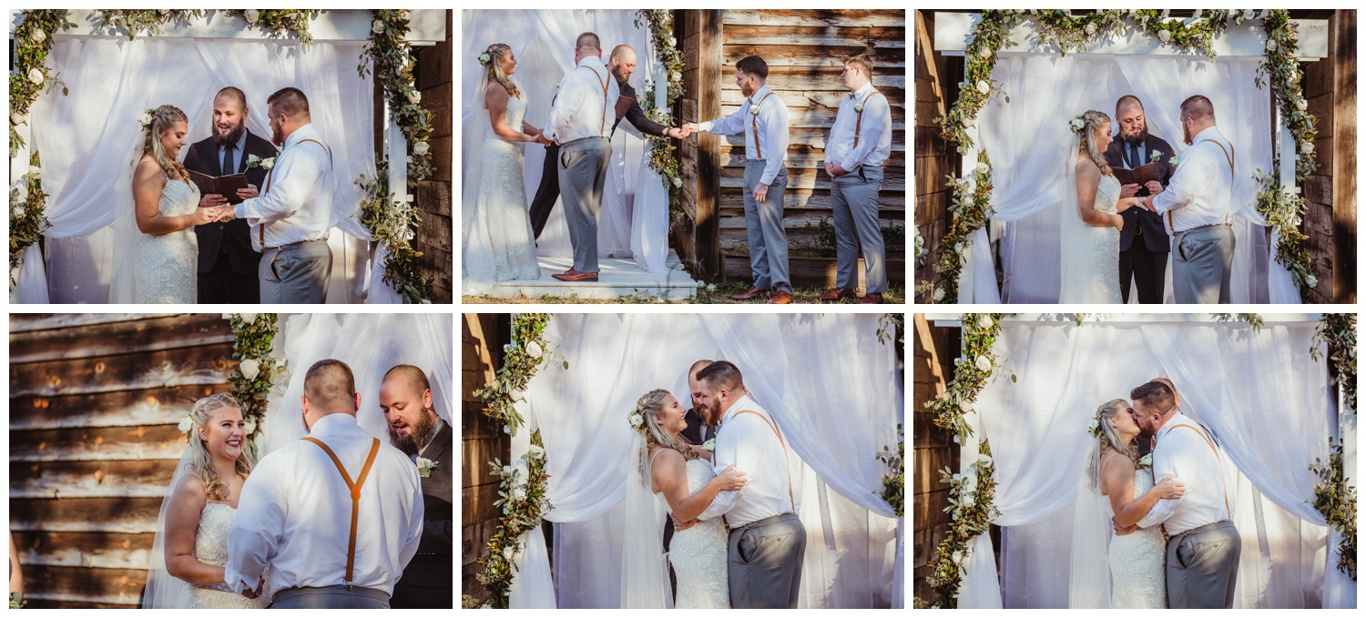 The bride and groom say their vows during their wedding ceremony at The Warren Estate, images by Rose Trail Images of Rolesville, NC.