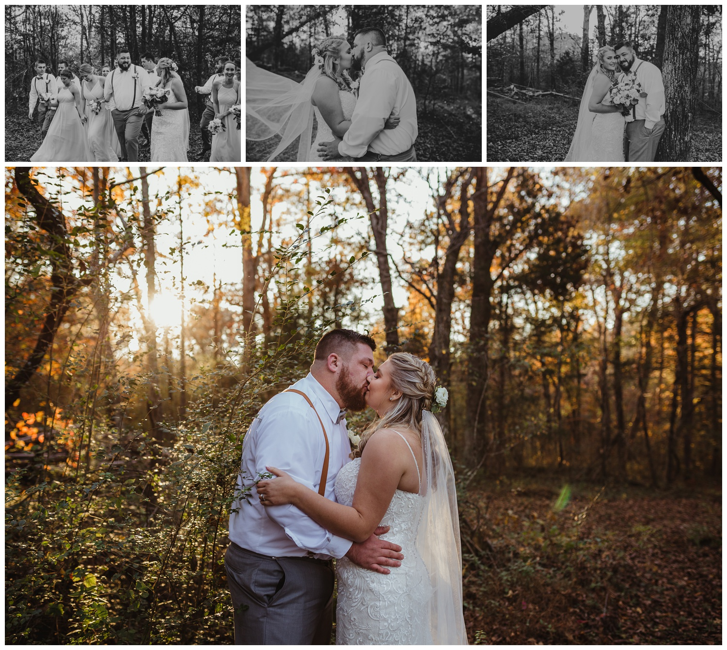 The bride and groom take a moment to kiss in the woods after their wedding ceremony at The Warren Estate, images by Rose Trail Images of Rolesville, NC.