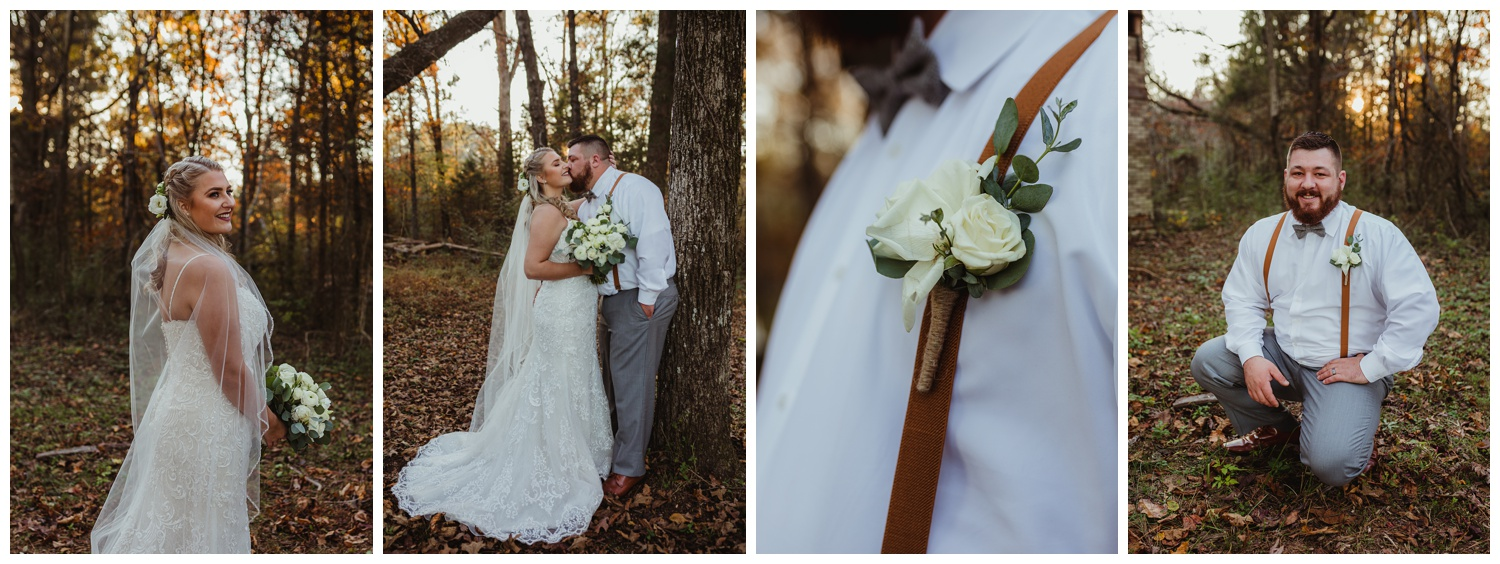 The bride and groom pose for pictures in the woods after their wedding ceremony at The Warren Estate, images by Rose Trail Images of Rolesville, NC.