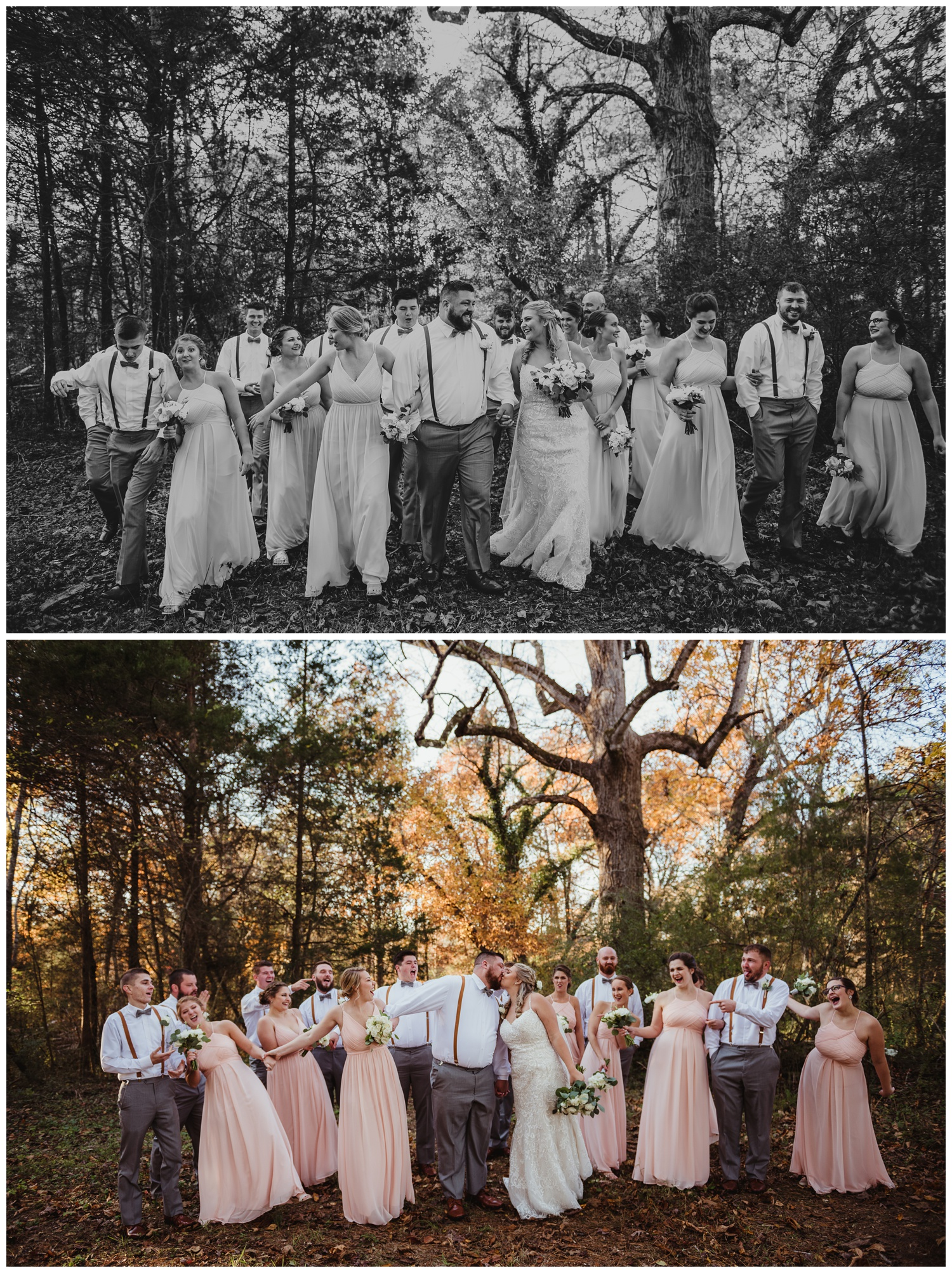 The bride and groom pose with their bridal party in the woods after their wedding ceremony at The Warren Estate, images by Rose Trail Images of Rolesville, NC.