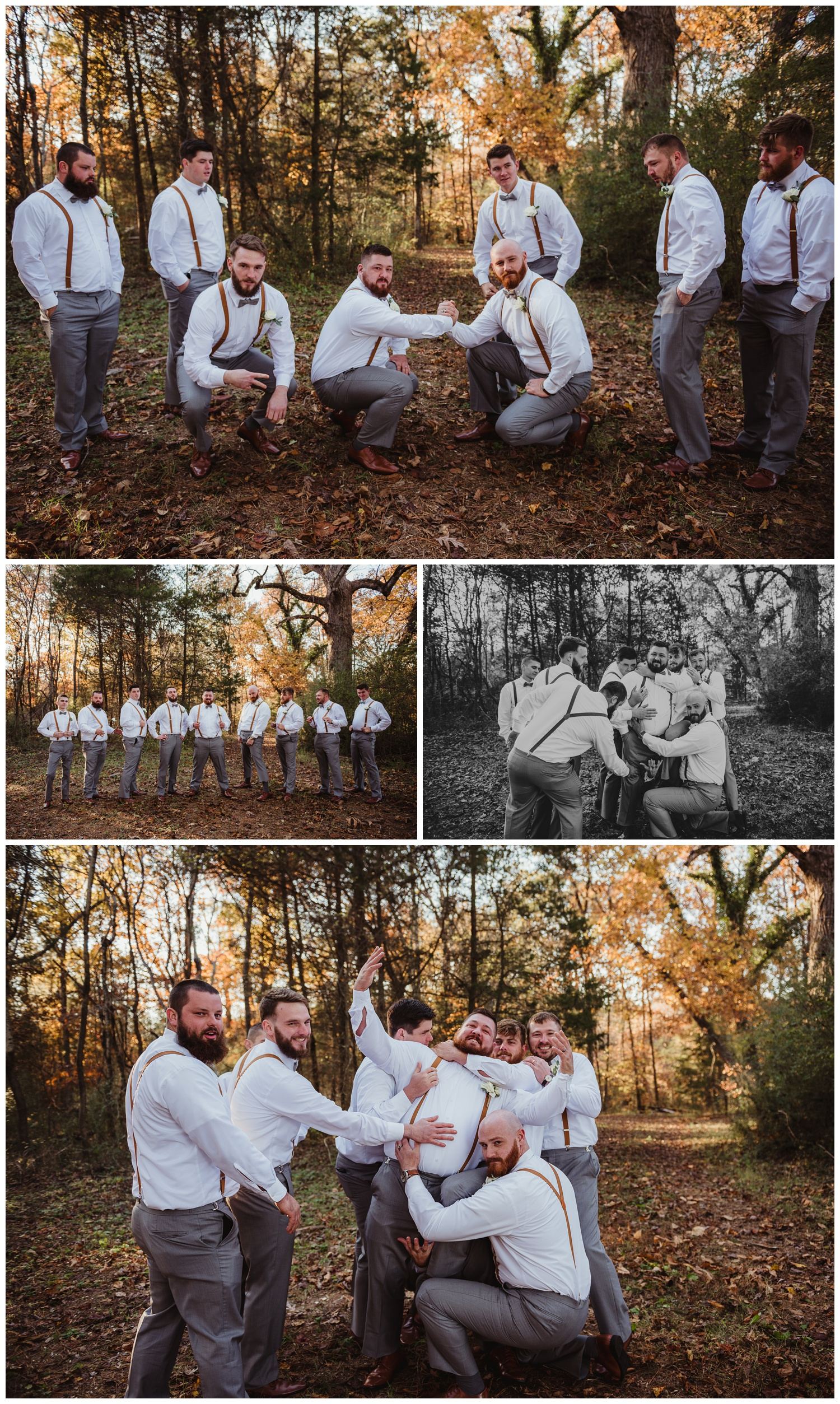 The groom poses with his groomsmen in the woods after their wedding ceremony at The Warren Estate, images by Rose Trail Images of Rolesville, NC.