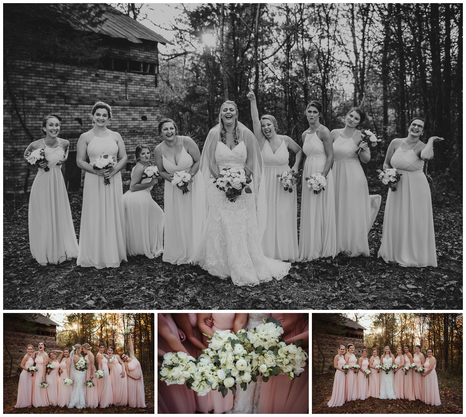 The bride poses with her bridal party in the woods after their wedding ceremony at The Warren Estate, images by Rose Trail Images of Rolesville, NC.