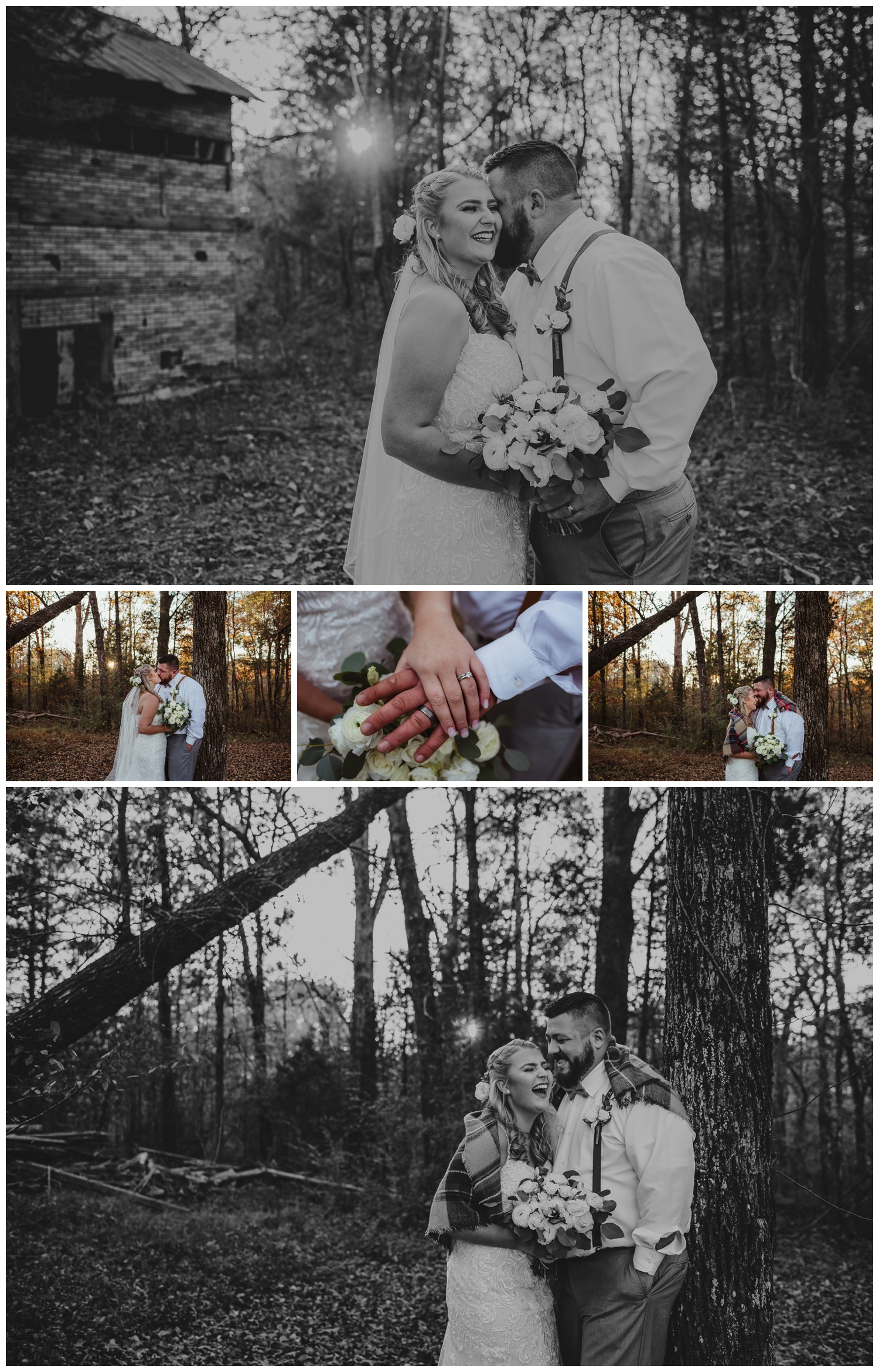 The bride and groom pose in the woods for wedding pictures at The Warren Estate, images by Rose Trail Images of Rolesville, NC.