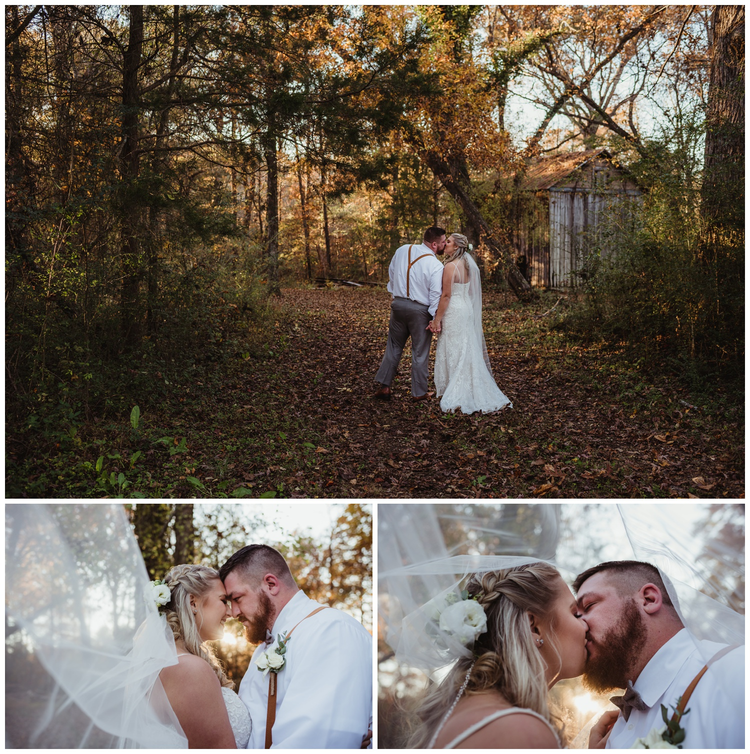 The bride and groom pose in the woods under her veil for wedding pictures at The Warren Estate, images by Rose Trail Images of Rolesville, NC.