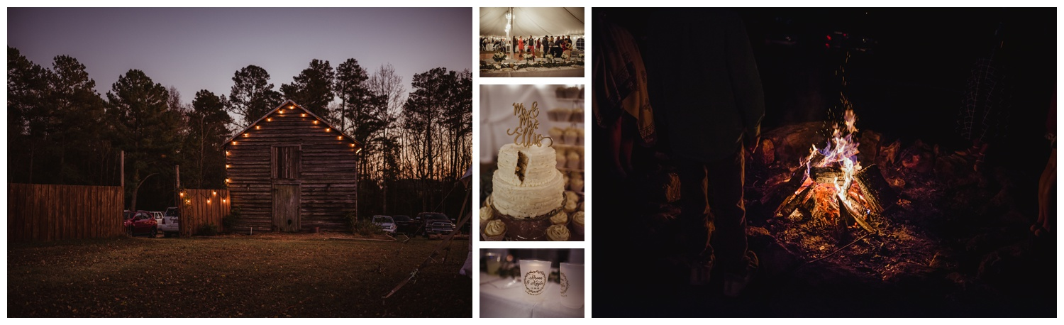 The wedding reception at The Warren Estate had lights outside the barn, a bonfire, and beautiful wedding details, images by Rose Trail Images of Rolesville, NC.
