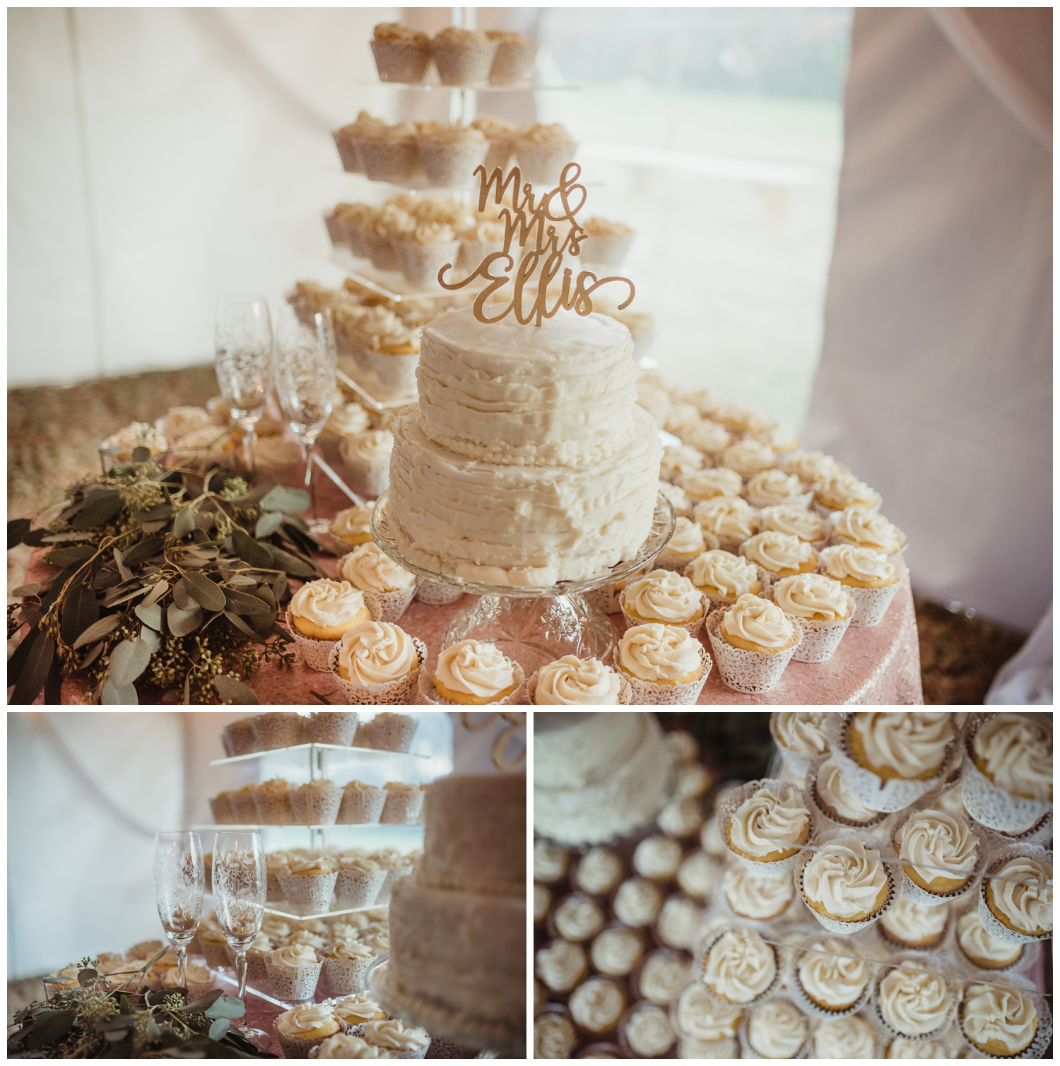 Wedding details for a reception at The Warren Estate included etched champagne flutes and white cupcakes, images by Rose Trail Images of Rolesville, NC.