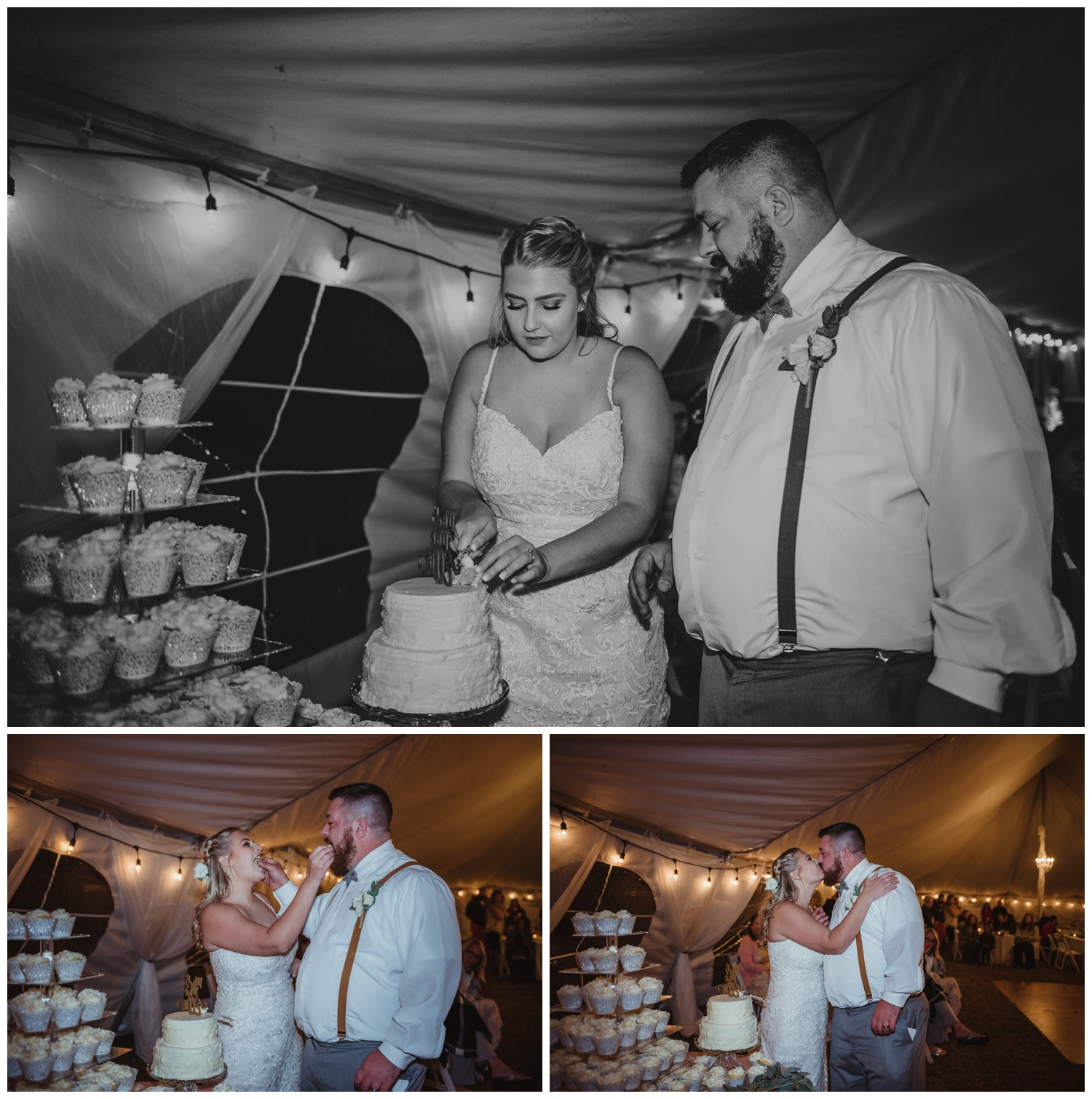 The wedding reception at The Warren Estate had the bride and groom cutting the cake and feeding each other cupcakes, images by Rose Trail Images of Rolesville, NC.