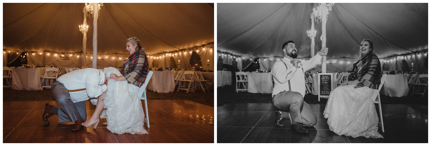 The wedding reception at The Warren Estate had had the groom getting the garter with his teeth, images by Rose Trail Images of Rolesville, NC.