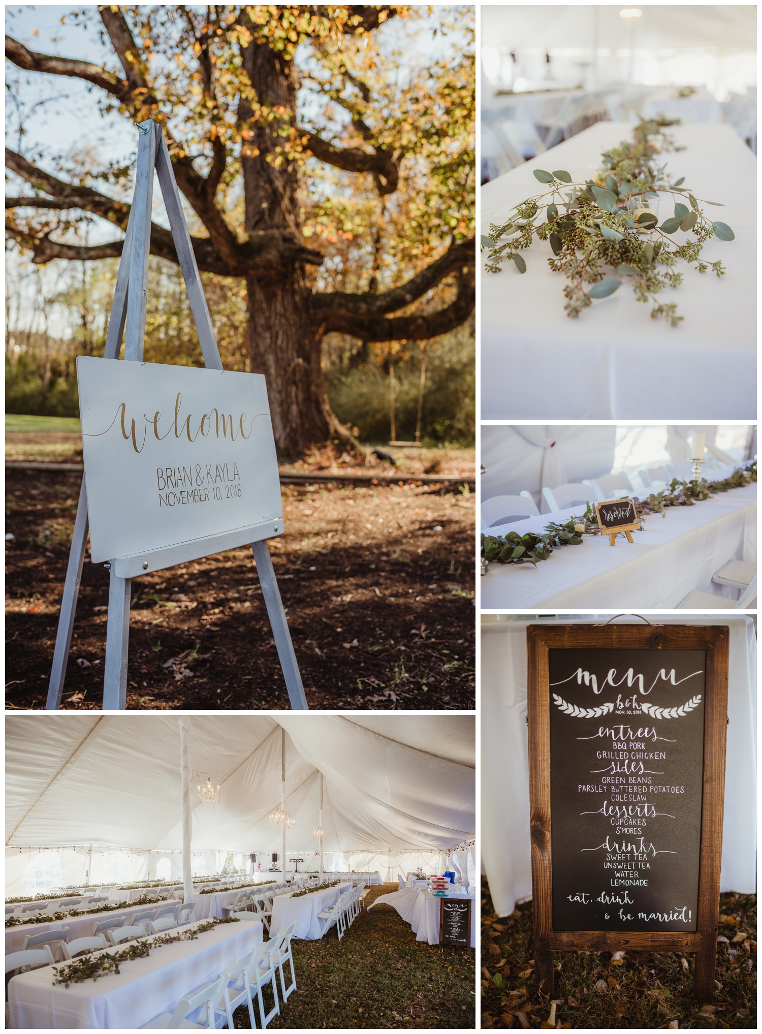 Wedding details for a reception at The Warren Estate included hand written signs and lots of greenery, images by Rose Trail Images of Rolesville, NC.