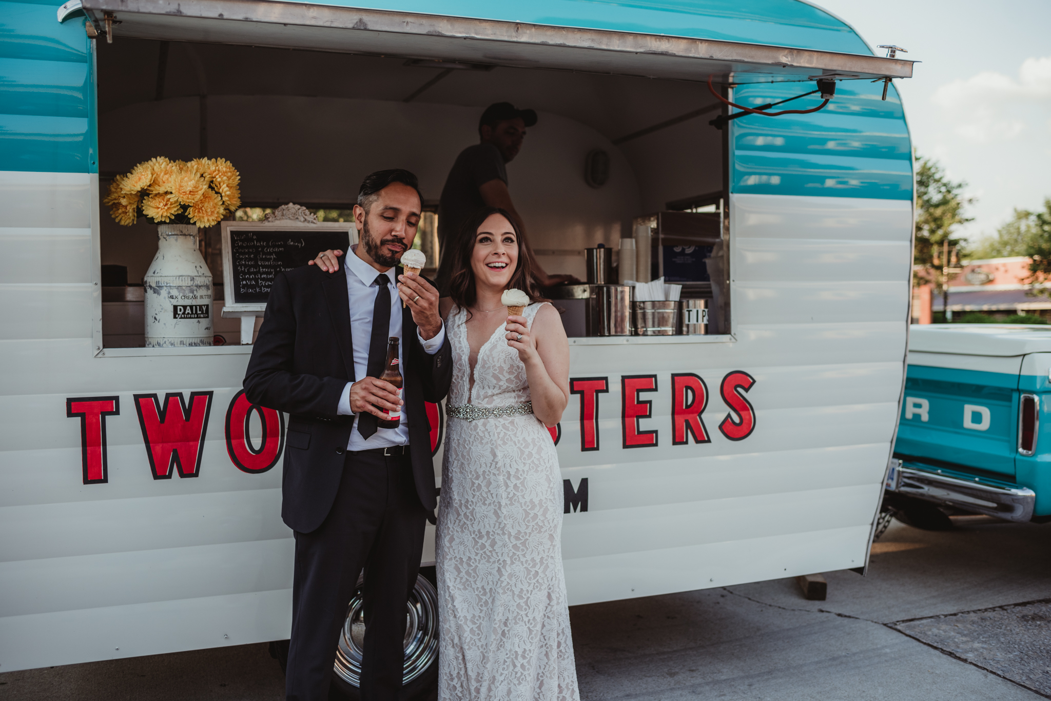 Raleigh-wedding-photographer-bride-and-groom-enjoying-two-roosters-ice-cream-rose-trail-images.jpg