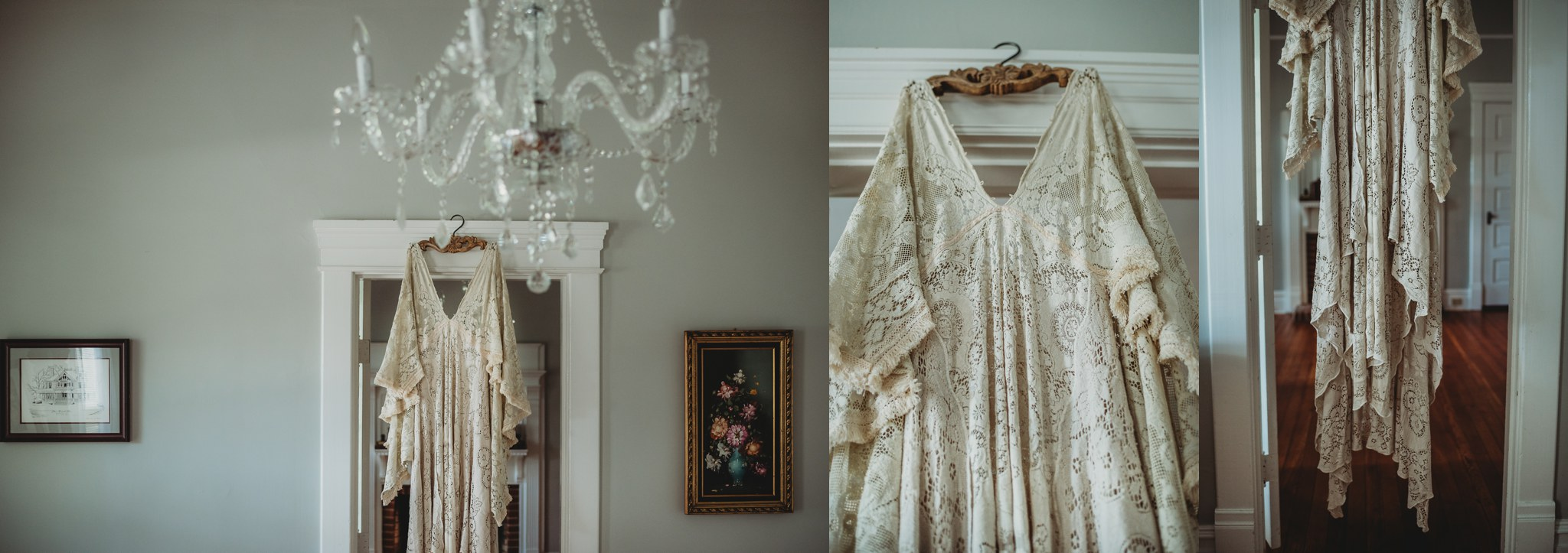 Images of a Reclamation boho vintage lace dress at the Mason Street Manor, available for rent in Rolesville North Carolina by Rose Trail Images.