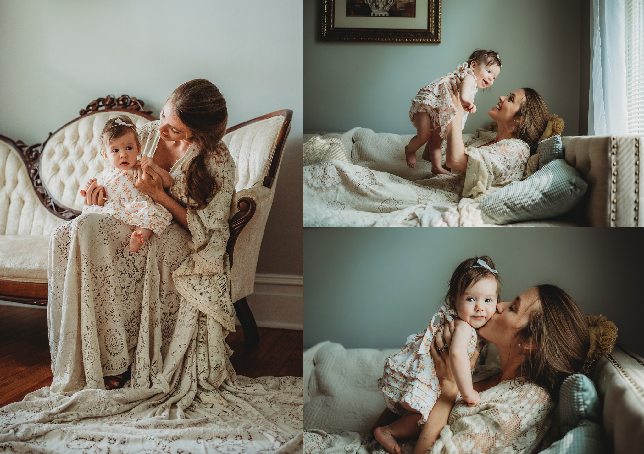 Pictures of a Mama and her baby session, with Mama in a Reclamation boho vintage lace dress at the Mason Street Manor, available for rent in Rolesville North Carolina by Rose Trail Images.