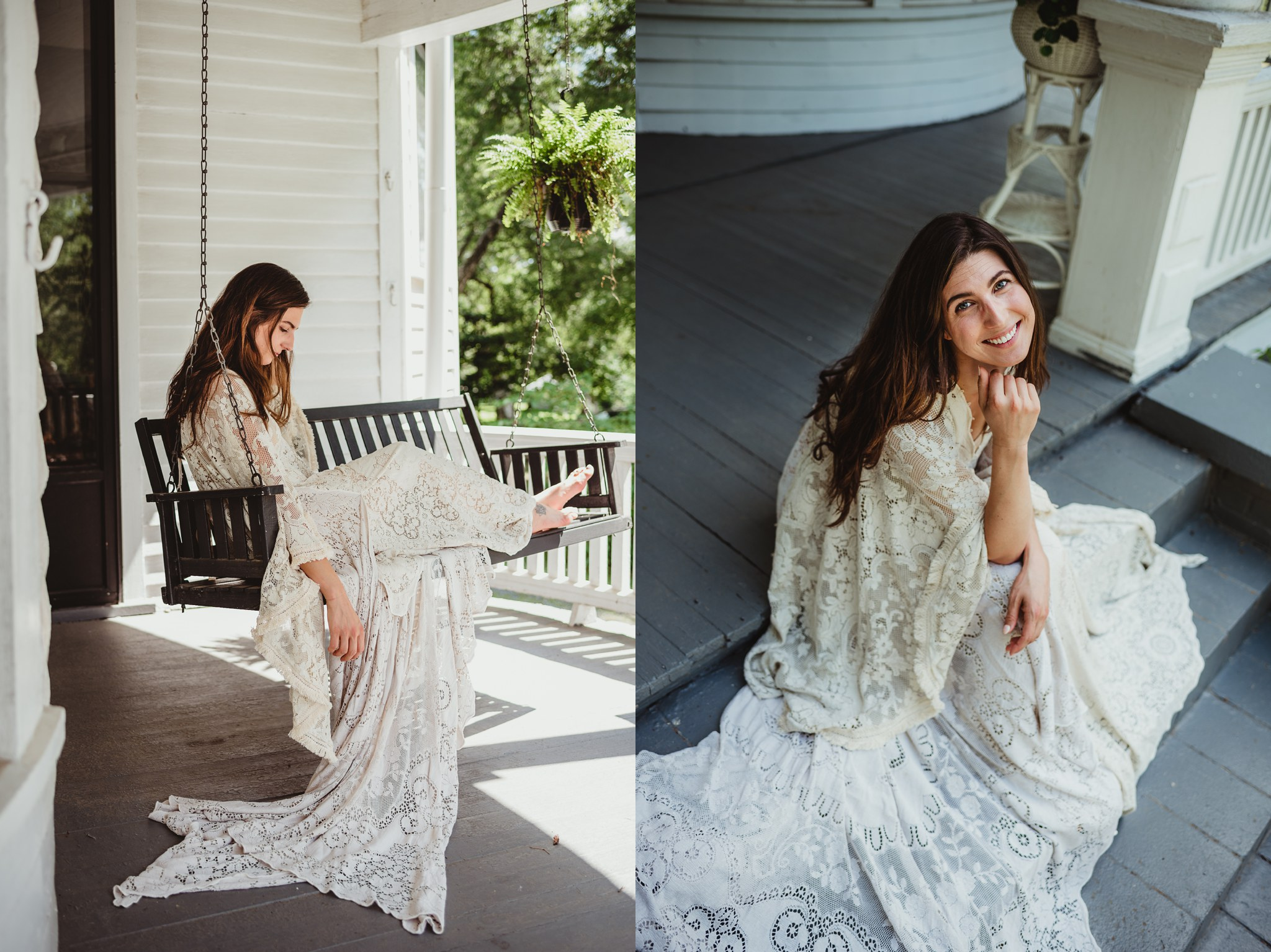 Pictures of a model in a styled shoot wearing a Reclamation boho vintage lace dress at the Mason Street Manor, available for rent in Rolesville North Carolina by Rose Trail Images.