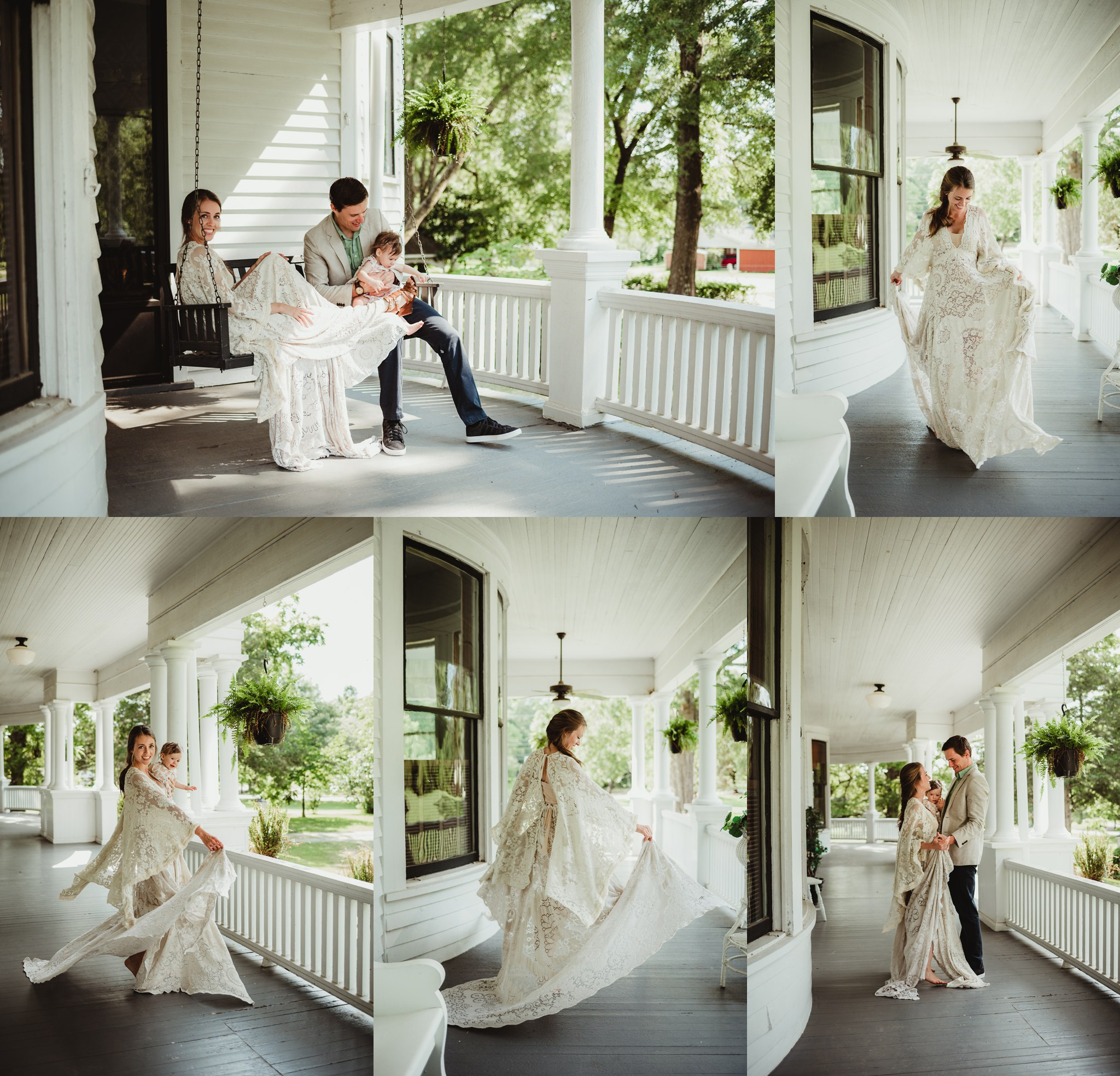 Family and model pictures of a Mama wearing a Reclamation boho vintage lace dress at the Mason Street Manor, available for rent in Rolesville North Carolina by Rose Trail Images.