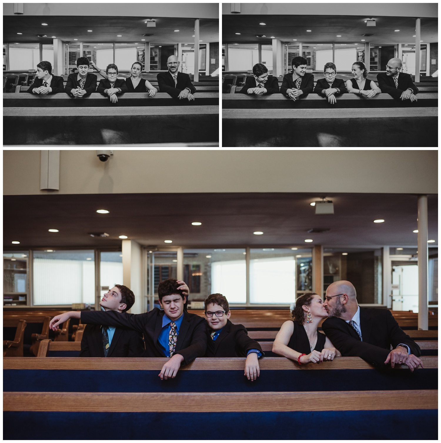 Silly family portraits before the bar mitzvah ceremony at Temple Beth Or in Raleigh, NC, pictures by Rose Trail Images.