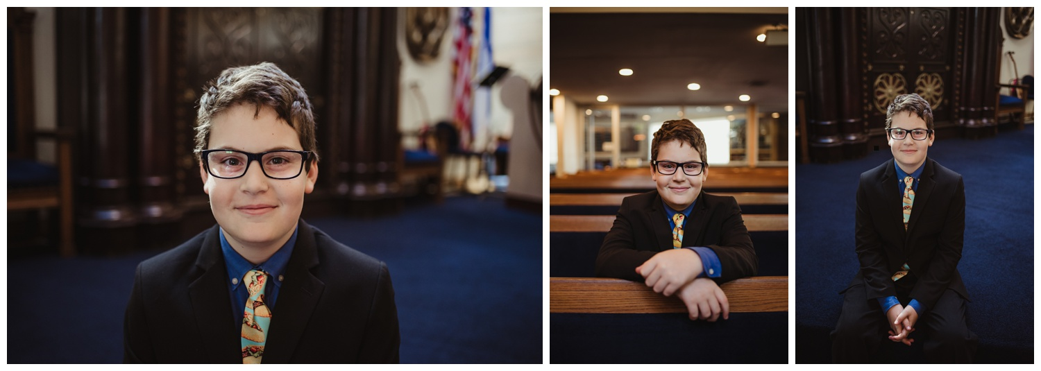 Portraits of the bar mitzvah boy as he gets called to the Torah at Temple Beth Or in Raleigh, NC, pictures by Rose Trail Images.