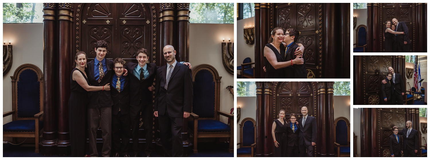 Family portraits on the bima before the bar mitzvah ceremony at Temple Beth Or in Raleigh, NC, pictures by Rose Trail Images.