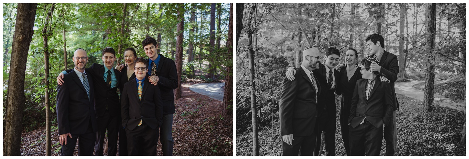 Family portraits outside before the bar mitzvah ceremony at Temple Beth Or in Raleigh, NC, pictures by Rose Trail Images.