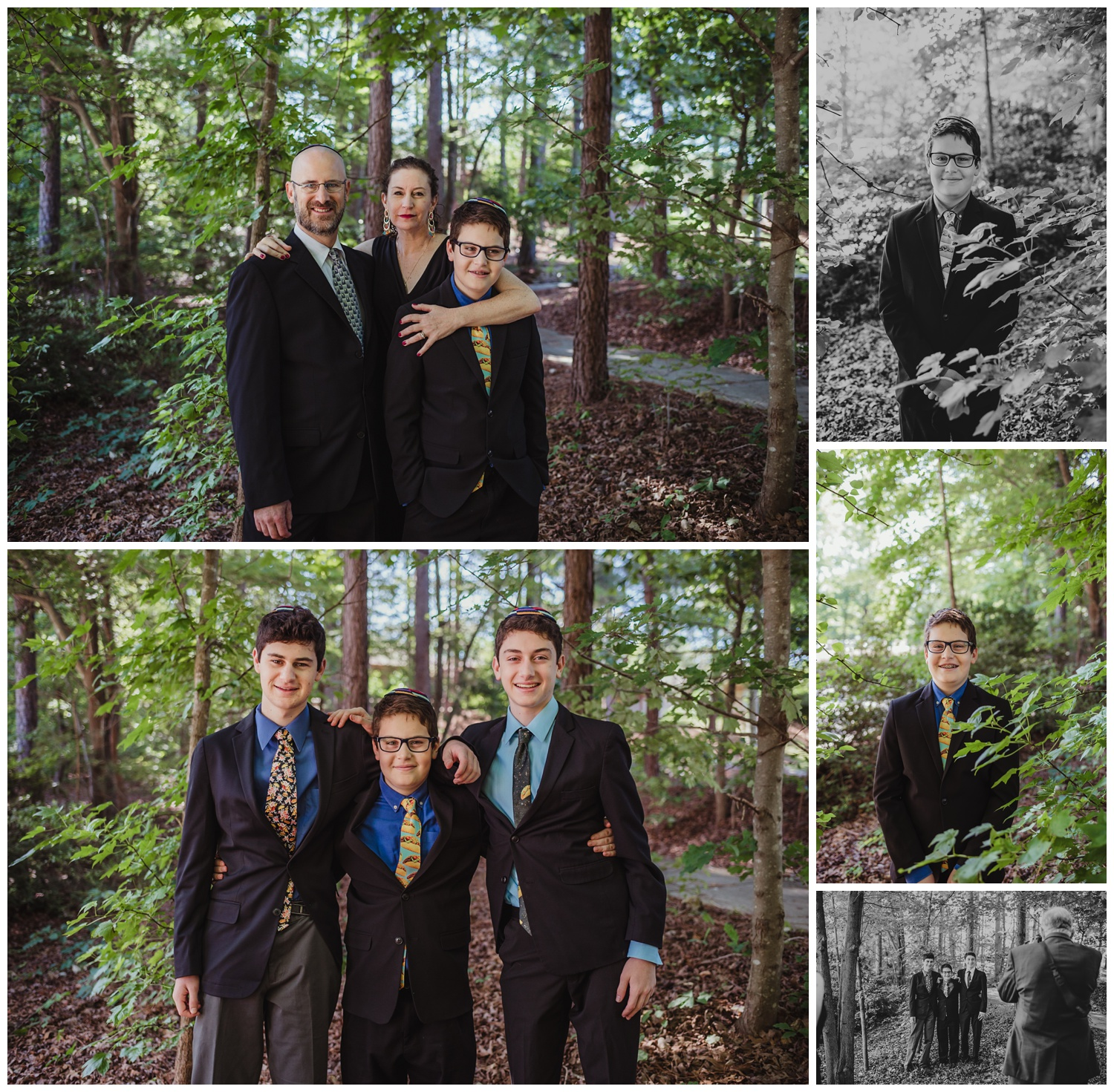 Family and individual portraits outside before the bar mitzvah ceremony at Temple Beth Or in Raleigh, NC, pictures by Rose Trail Images.