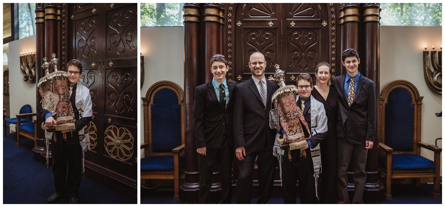 Family portraits with the Torah before the bar mitzvah ceremony at Temple Beth Or in Raleigh, NC, pictures by Rose Trail Images.