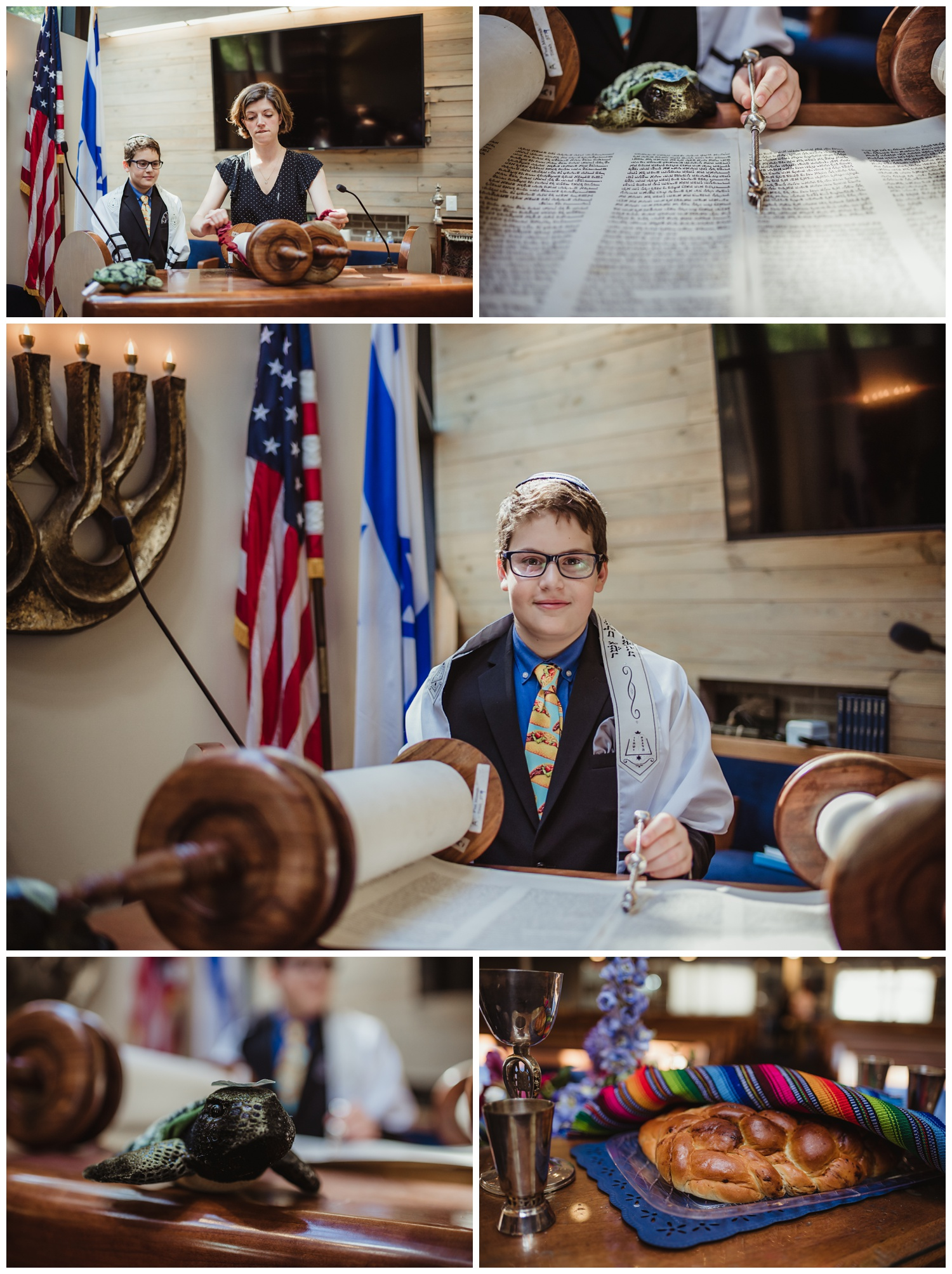Torah portraits and detail shots before the bar mitzvah ceremony at Temple Beth Or in Raleigh, NC, pictures by Rose Trail Images.