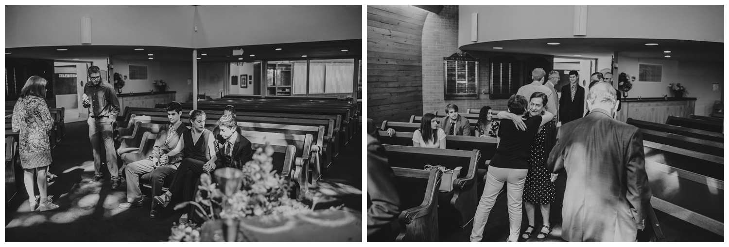 Black and white candids of the family in the congregation before the bar mitzvah ceremony at Temple Beth Or in Raleigh, NC, pictures by Rose Trail Images.