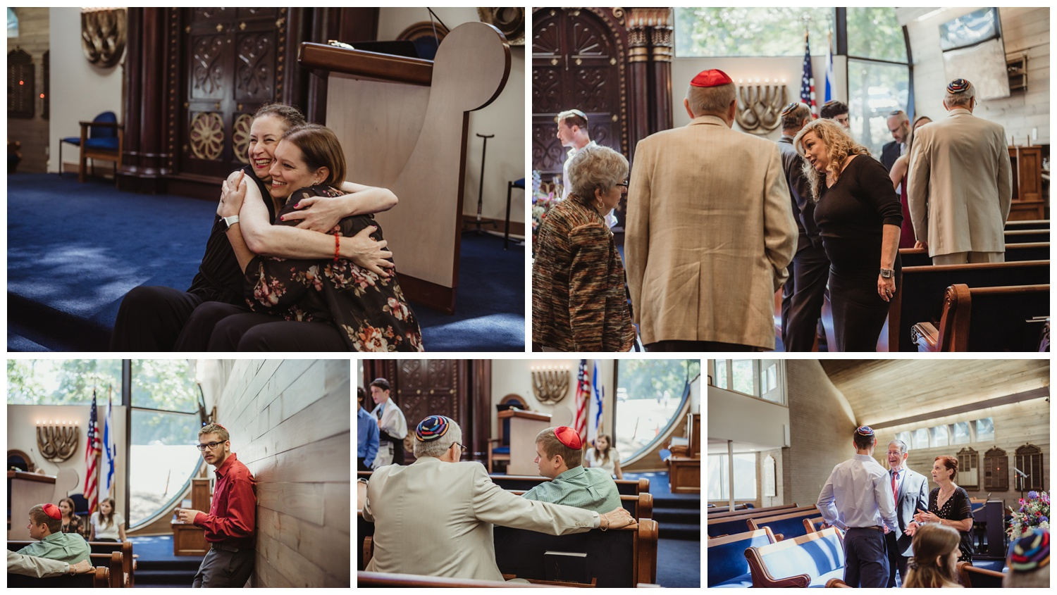 Family candids in the sanctuary before the bar mitzvah ceremony at Temple Beth Or in Raleigh, NC, pictures by Rose Trail Images.