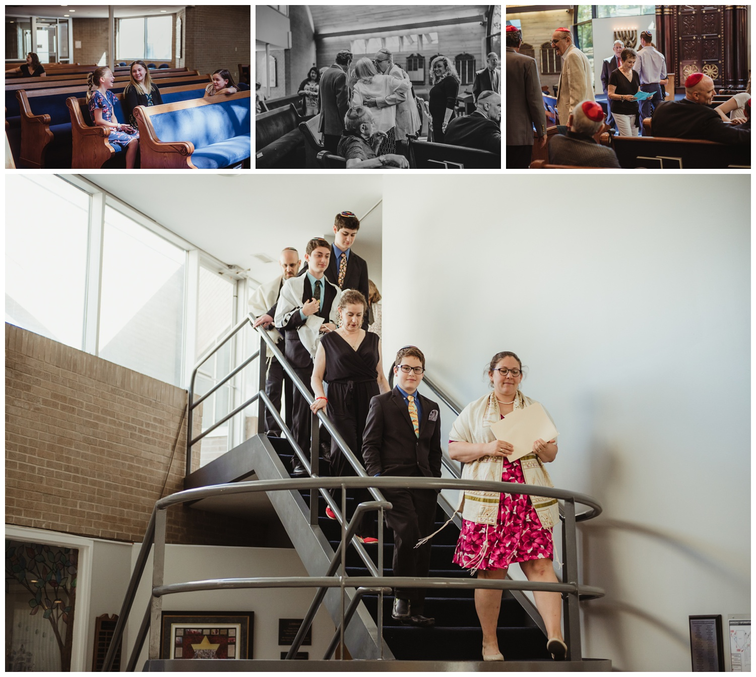 Family and friends in the sanctuary before the bar mitzvah ceremony at Temple Beth Or in Raleigh, NC, pictures by Rose Trail Images.