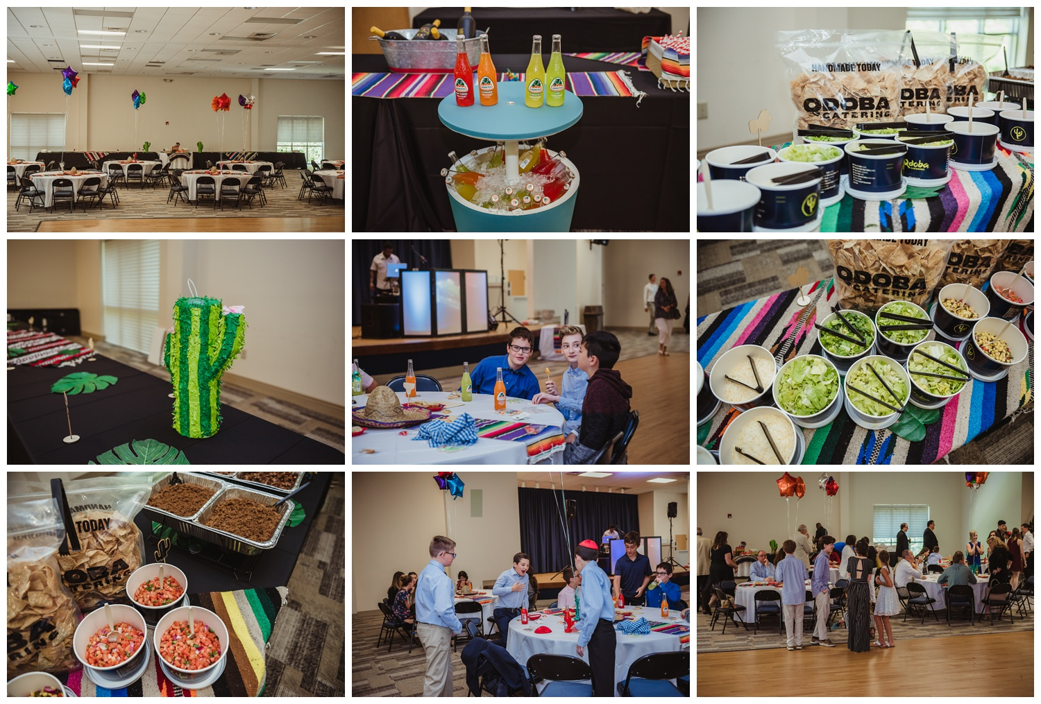 Details of the Mexican themed mitzvah celebration at Temple Beth Or in Raleigh, NC include a Qdoba taco bar, pictures by Rose Trail Images.