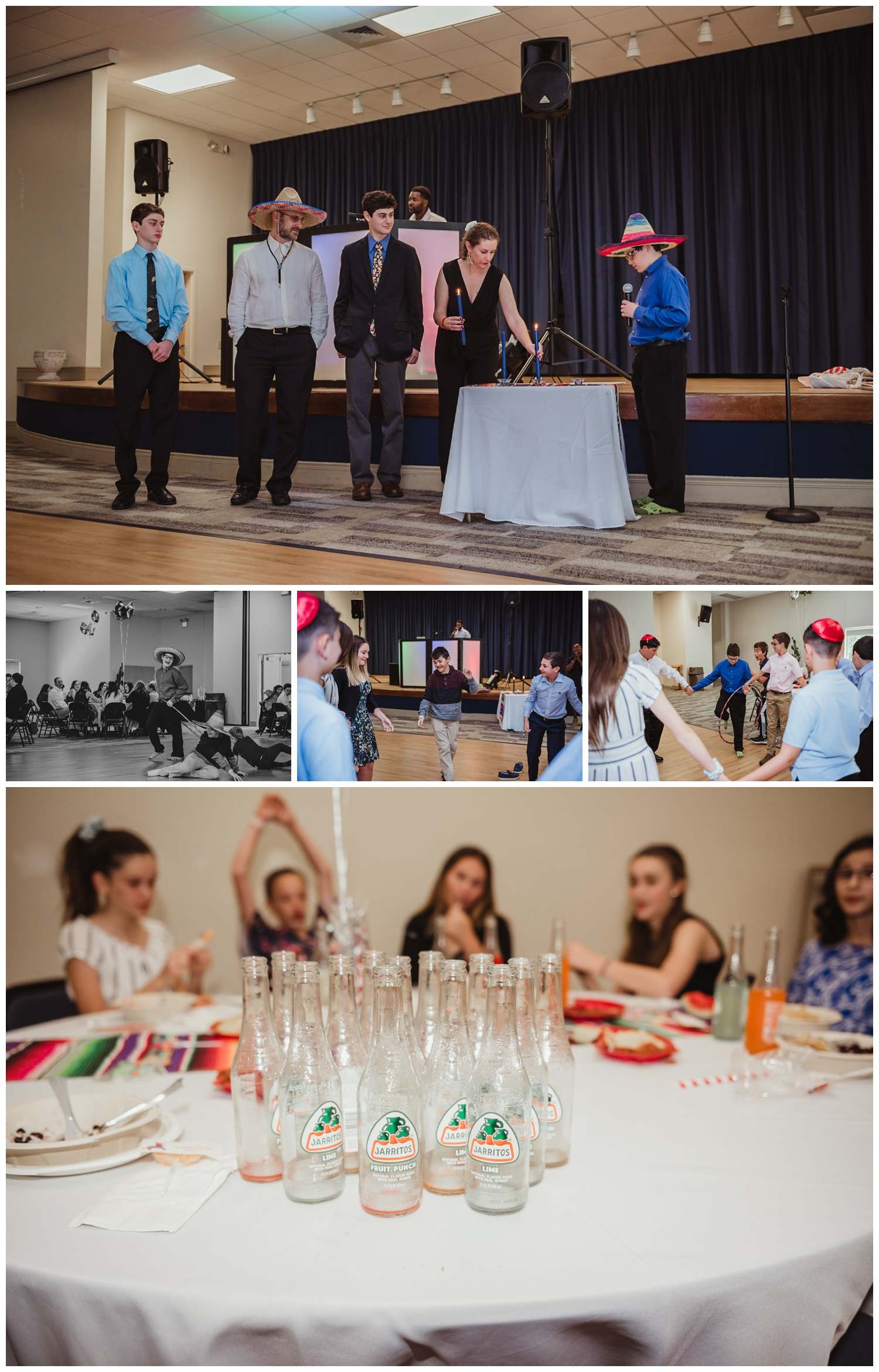 Some of the Mexican themed mitzvah celebration at Temple Beth Or in Raleigh, NC included a candle ceremony, hula hoops, and lots of jarritos soda, pictures by Rose Trail Images.