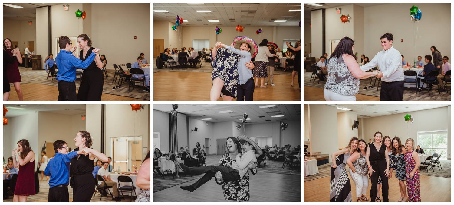 At the Mexican themed mitzvah guests had a dance contest with their moms, pictures taken at Temple Beth Or in Raleigh, NC by Rose Trail Images.