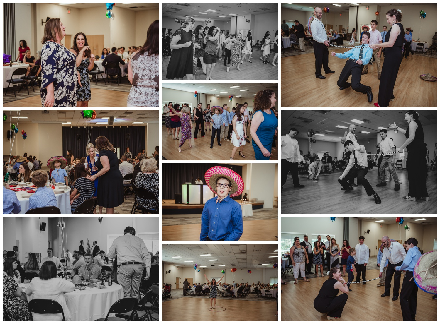 At the Mexican themed mitzvah guests had a great time dancing and doing the limbo, pictures taken at Temple Beth Or in Raleigh, NC by Rose Trail Images.
