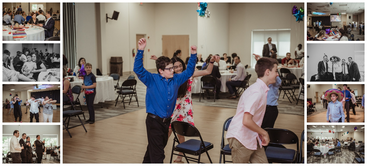 At the Mexican themed mitzvah guests played musical chairs, danced, and watched a sweet video, pictures taken at Temple Beth Or in Raleigh, NC by Rose Trail Images.
