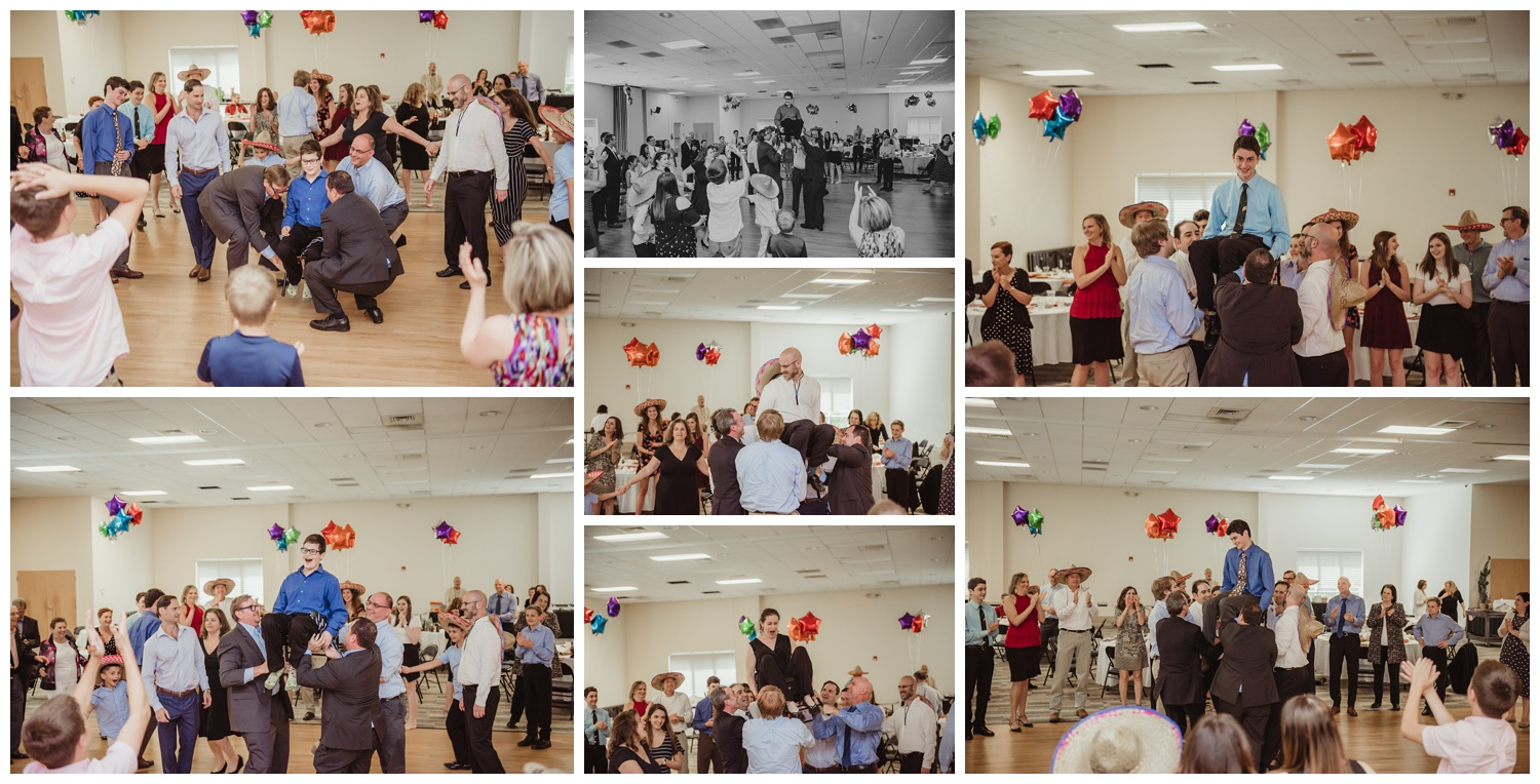 At the Mexican themed mitzvah guests danced the hora, pictures taken at Temple Beth Or in Raleigh, NC by Rose Trail Images.