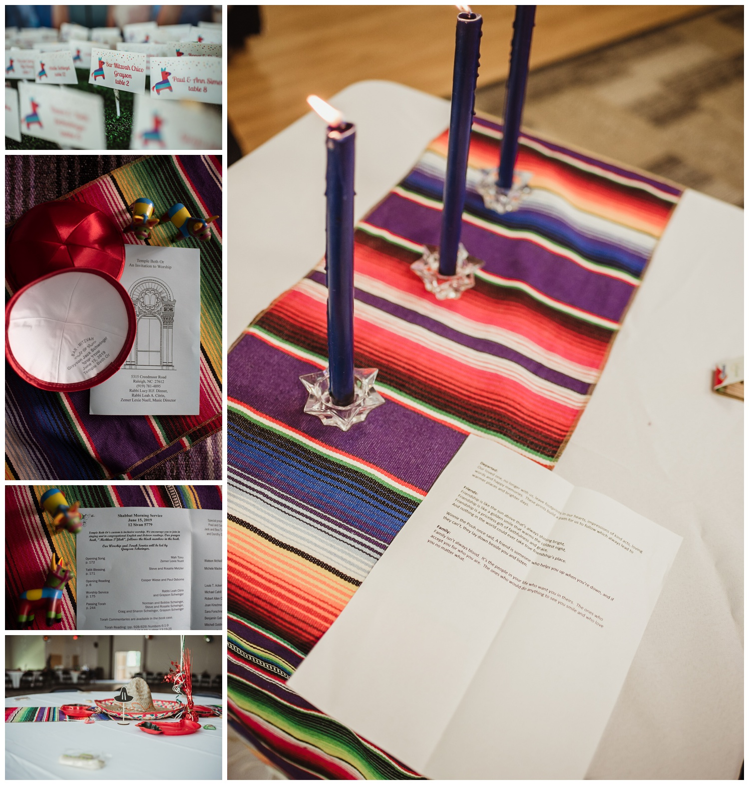 Details of the Mexican themed mitzvah celebration, including centerpieces and invites, at Temple Beth Or in Raleigh, pictures by Rose Trail Images.
