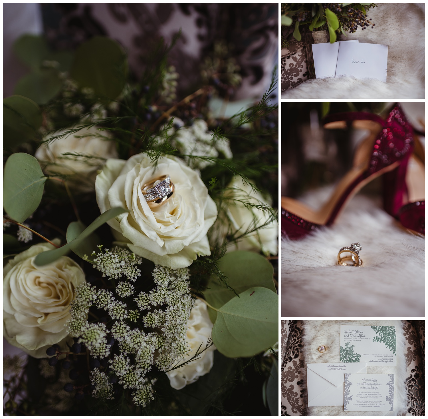 Wedding details include red high heels, white flowers, and floral invites for the wedding in downtown Raleigh, photos by Rose Trail Images.