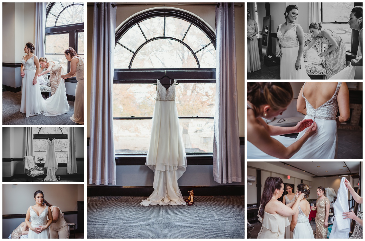 The bride got dressed with her bridesmaids before her wedding ceremony in downtown Raleigh, photos by Rose Trail Images.