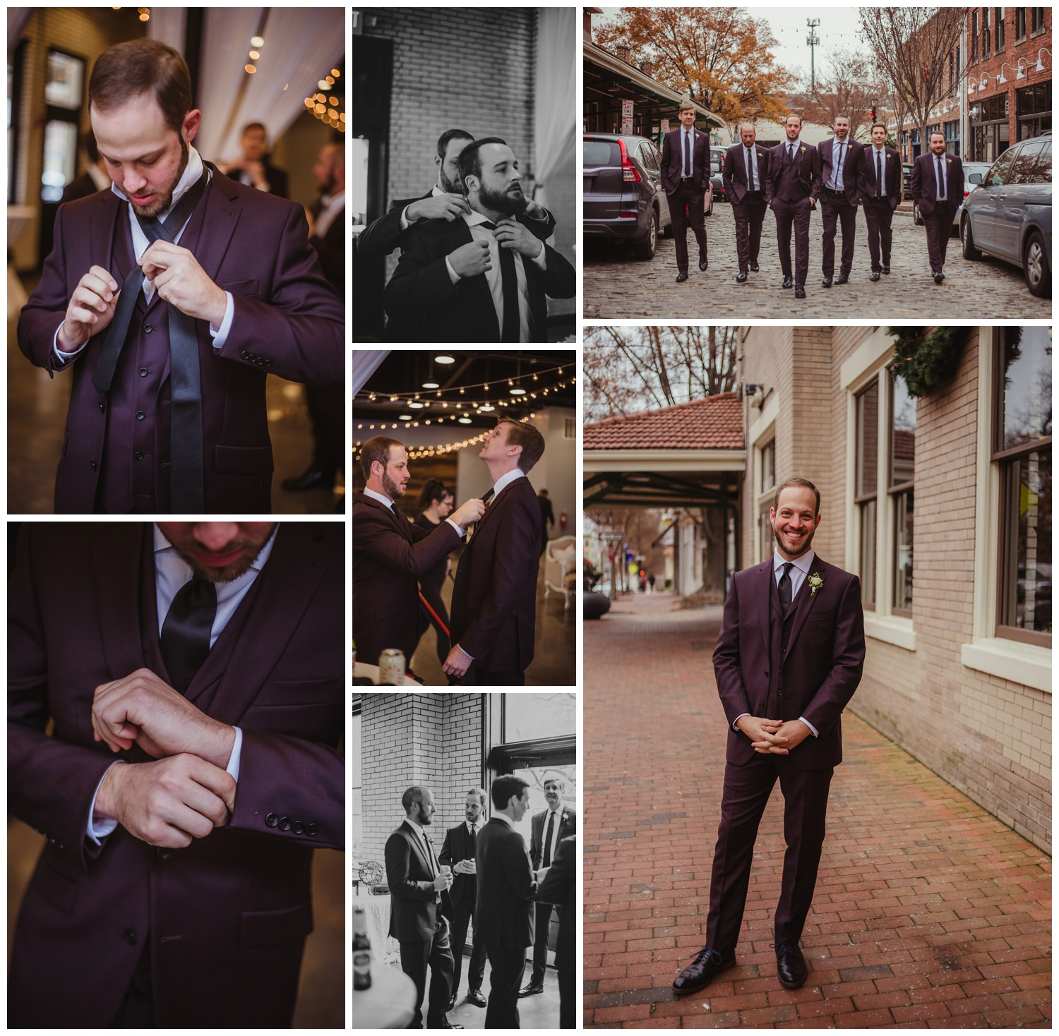 The groom got ready with his groomsmen before his wedding ceremony in downtown Raleigh, photos by Rose Trail Images.