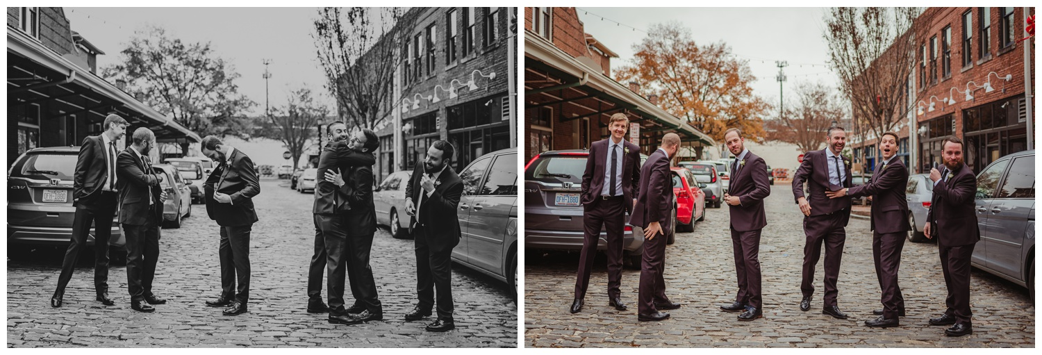The groom and his guys got silly before his wedding ceremony in downtown Raleigh, photos by Rose Trail Images.
