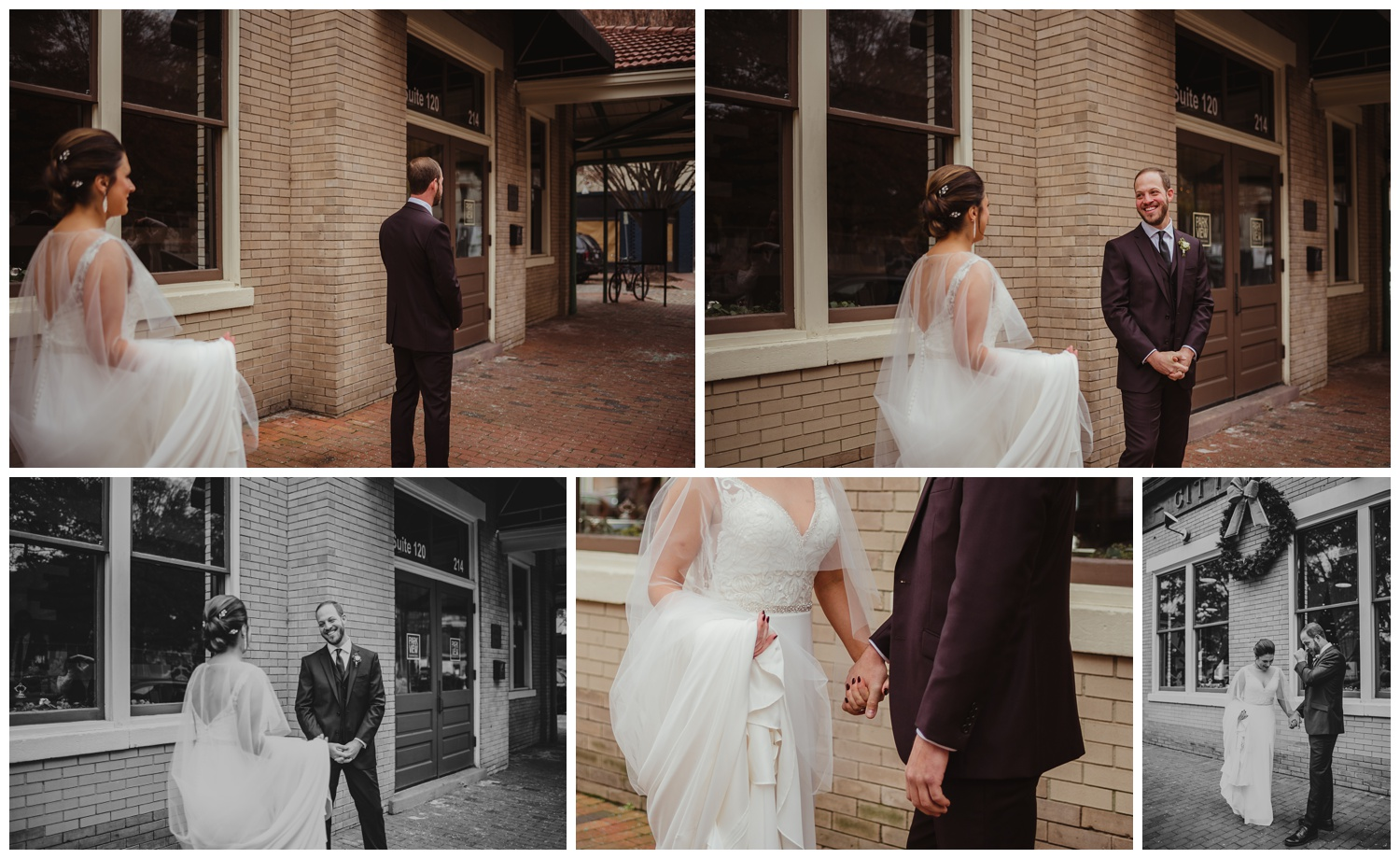 The bride and groom had a first look before their wedding ceremony in downtown Raleigh, photos by Rose Trail Images.