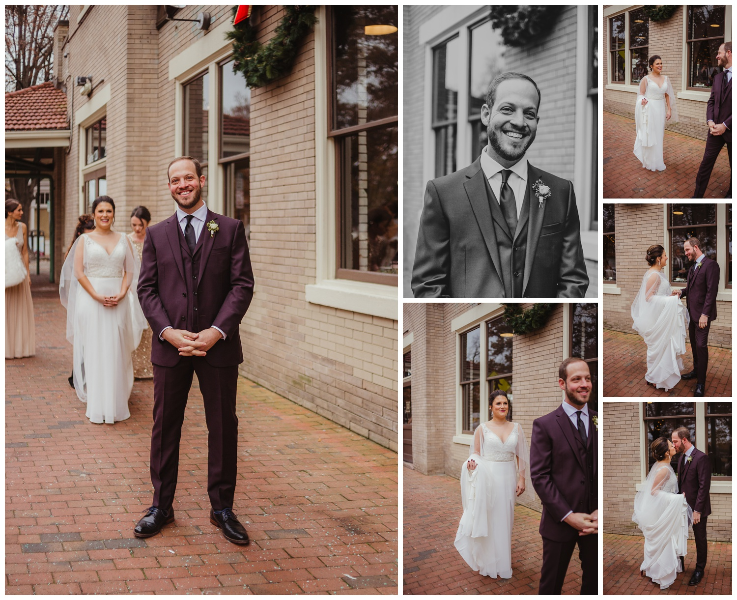 The bride and groom had a first look outside before their wedding ceremony in downtown Raleigh, photos by Rose Trail Images.