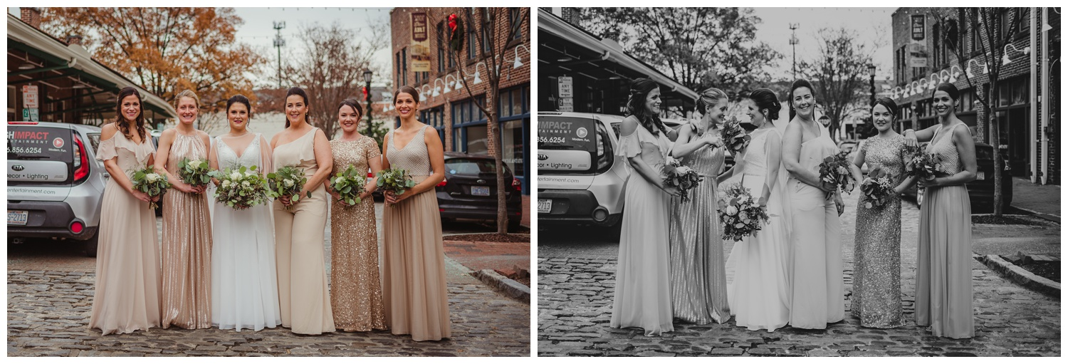 The bride posed with her bridesmaids on the cobblestones outside before her wedding ceremony in downtown Raleigh, photos by Rose Trail Images.