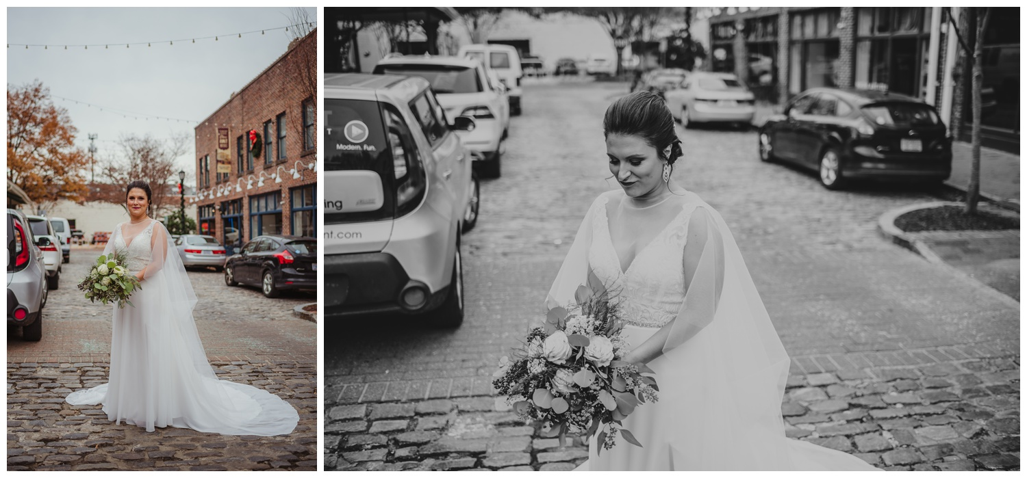 The bride posed on the cobblestones outside before her wedding ceremony in downtown Raleigh, photos by Rose Trail Images.