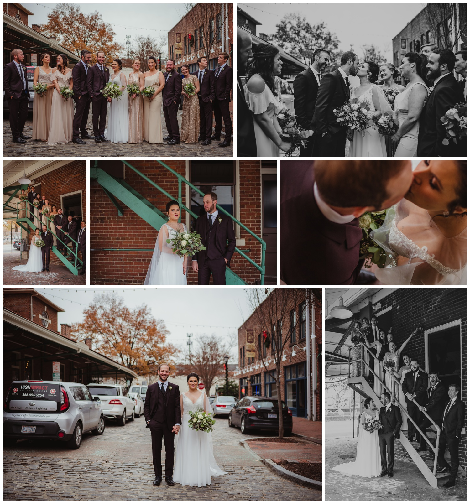 The bride and groom posed on the cobblestones outside with their bridal party before her wedding ceremony in downtown Raleigh, photos by Rose Trail Images.