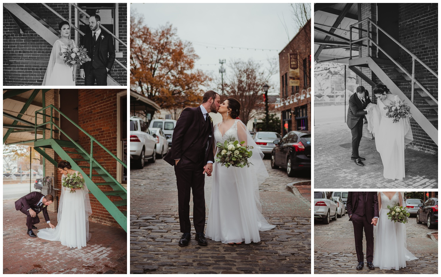 The bride and groom posed on the cobblestones outside before their wedding ceremony in downtown Raleigh, photos by Rose Trail Images.