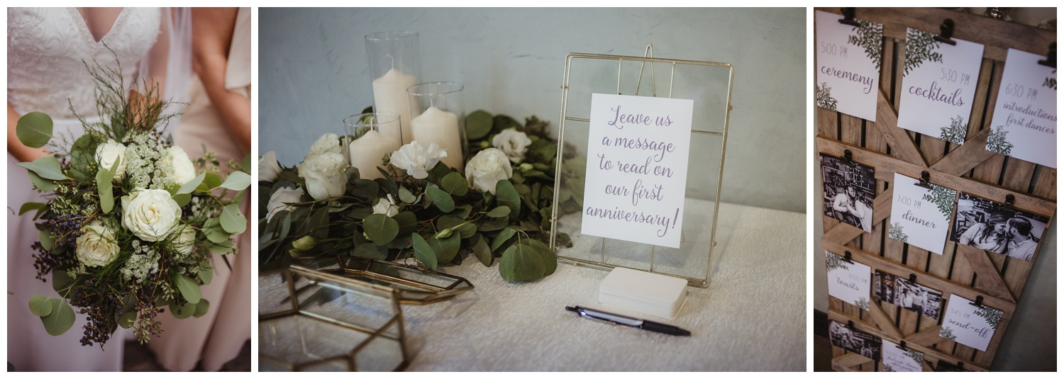 Some details of the wedding ceremony include engagement photos and lots of white flowers with greenery in downtown Raleigh, photos by Rose Trail Images.